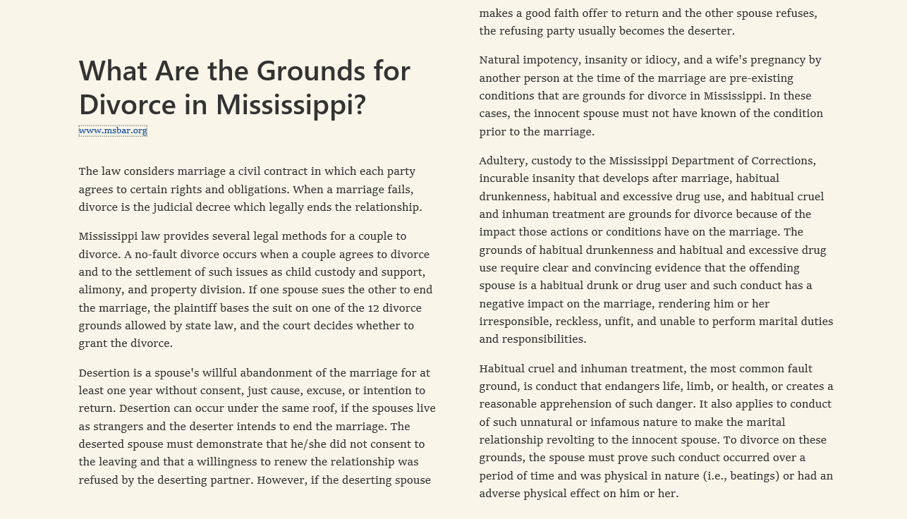 What Are the Grounds for Divorce in Mississippi?