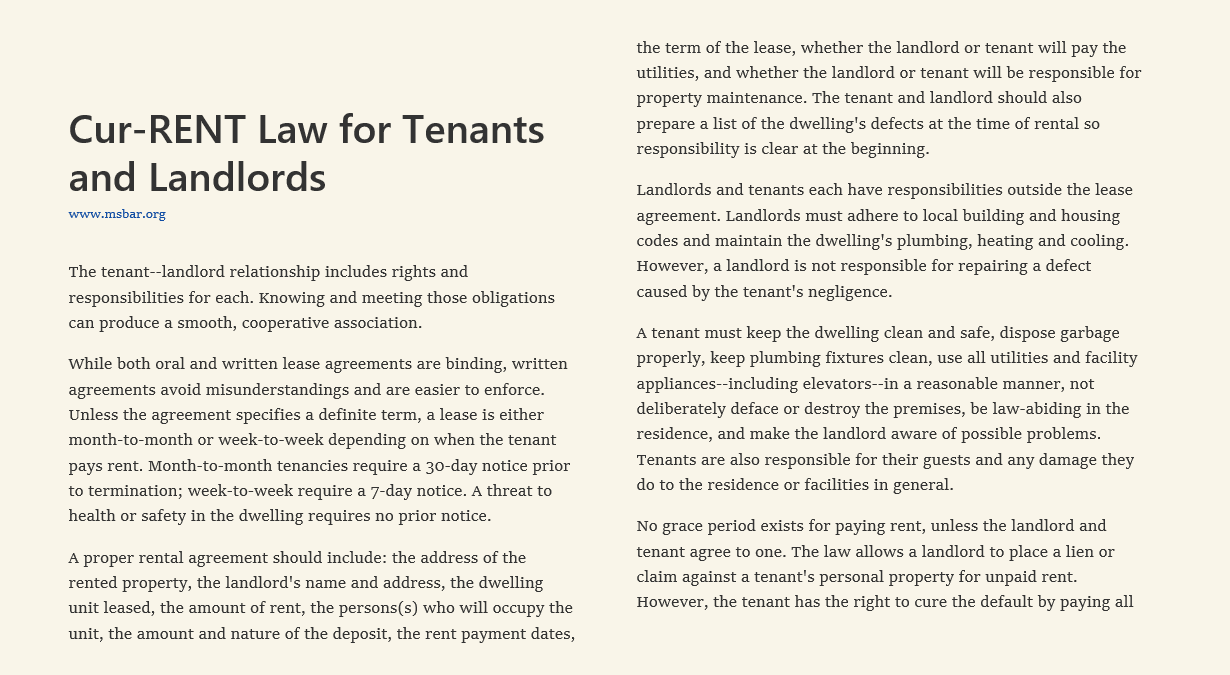 Cur-RENT Law for Tenants and landlords
